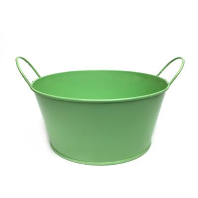Кашпо низкое окрашенное зеленое В-8 * Ш-18