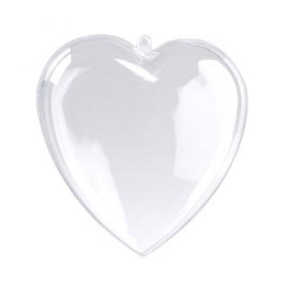 Сердце разъемное прозрачное 8см
