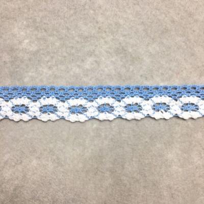 Кружево х/б бело-голубой Ш-2.5 1 метр 042