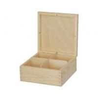 Коробка для чая 4 отделения (Польша) 16.5*16.5*7.5